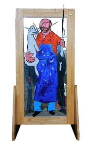 Self portrait on mirror, 2013, 110x52cm, humbrol, acrylic and paintbrush on found object