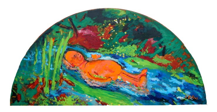 Jelly baby after Millais, 2013, 120x60cm, oil on wood