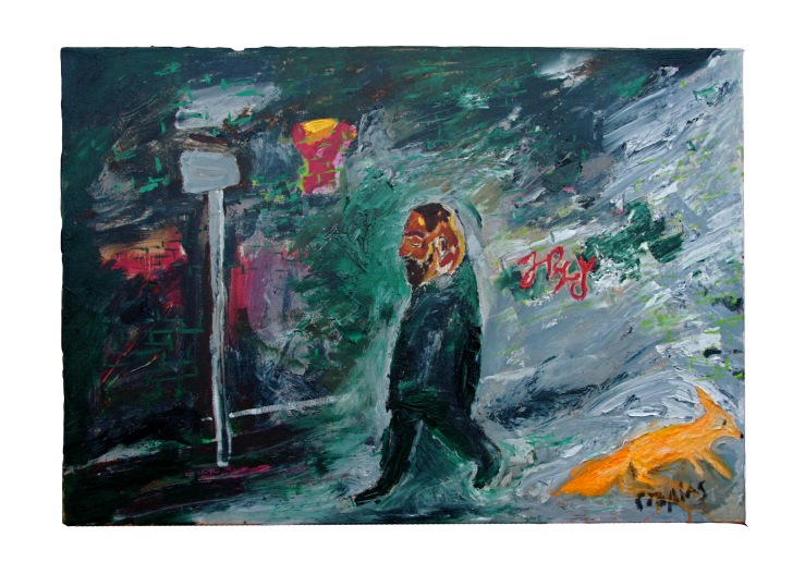 My neighbour on Google Street, 2014, 100x69cm, oil on canvas