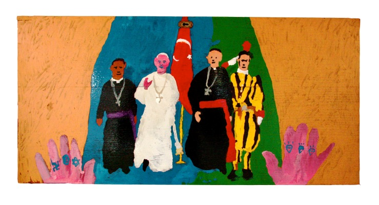 The Pope in Turkey, 2014, 82x39cm, humbrol on wooden panel